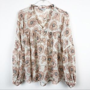 Lucky Brand Floral Sheer Peasant Blouse